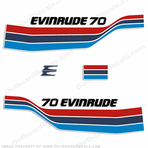 Evinrude 1977 70hp Outboard Decal Kit