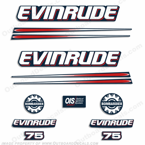 Evinrude 75hp Bombardier Decal Kit - Blue Cowl