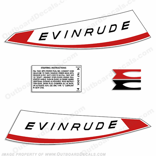 Evinrude 1967 9.5hp Outboard Engine Decals