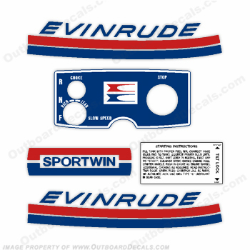 Evinrude 1969 9.5hp Outboard Engine Decals