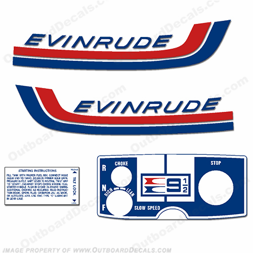 Evinrude 1972 9.5hp Decal Kit