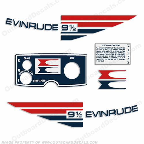 Evinrude 1973 9.5hp Outboard Engine Decals
