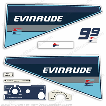 Evinrude 1985 9.9hp Outboard Engine Decals