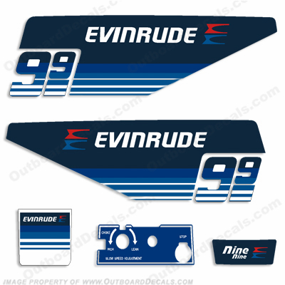 Evinrude 1979 9.9hp Outboard Engine Decals