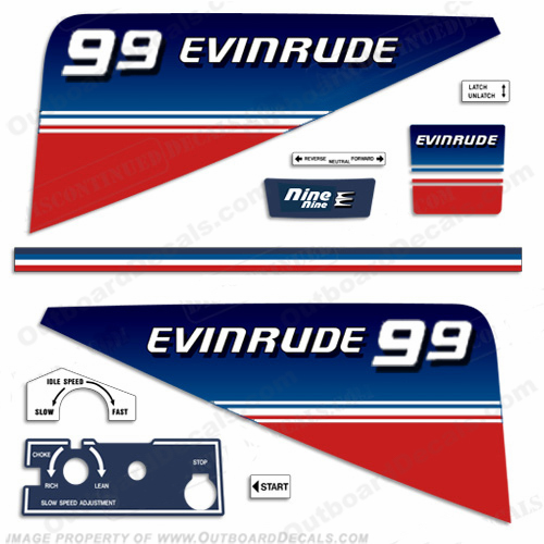 Evinrude 1980 9.9hp Outboard Engine Decals