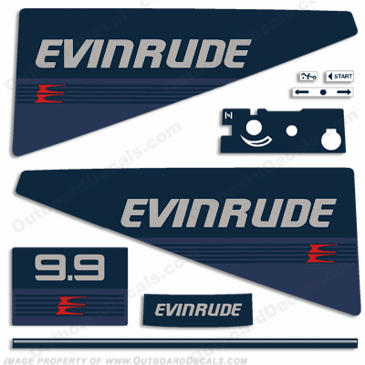 Evinrude 1986 9.9hp Outboard Engine Decals