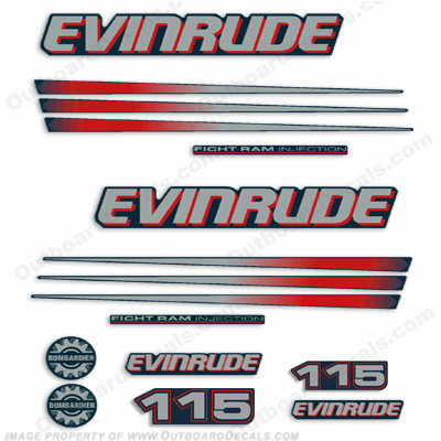 Evinrude 115hp Bombardier Decal Kit - Blue Cowl