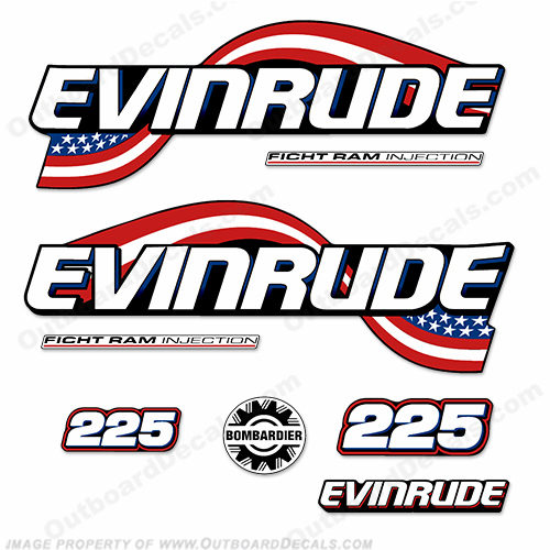 Evinrude 225hp Flag Series Decals
