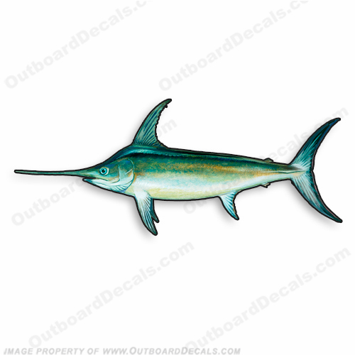 "Fish Decal ""Swordfish"" - Die Cut 9"" Decal"