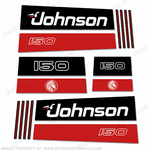 Johnson 150hp V8 Sea Horse Decals - Early 1990&#39s