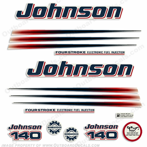 Johnson 140hp FourStroke Decals (Blue Cowl) 2003 - 2007