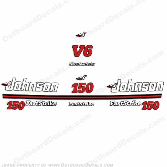 Johnson 150hp V6 Fast Strike Decals - 1991 - 1996