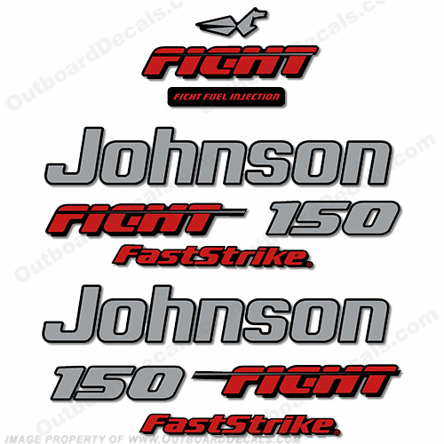 Johnson 150hp Fast Strike Ficht Decals - 1997 - 1998