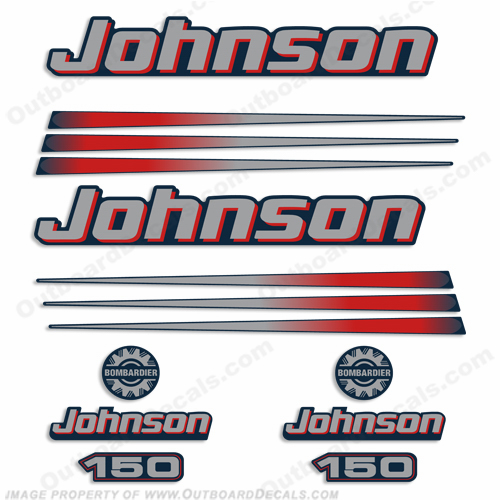 Johnson 150hp Decals (Blue Cowl) 2002 - 2006