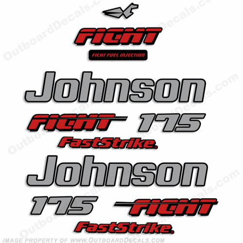 Johnson 175hp Fast Strike Ficht Decals - 1997 - 1998