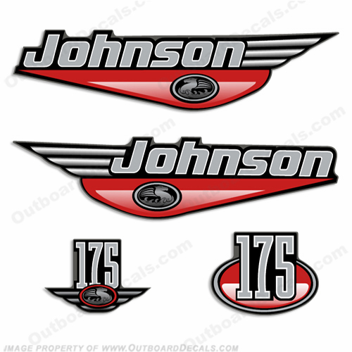 Johnson 175hp Decal Set - Red
