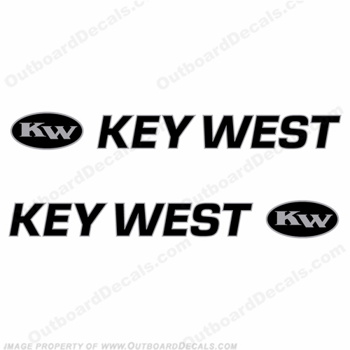 Key West Logo Boat Decals (Set of 2) Black/Silver