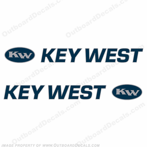 Key West Logo Boat Decals (Set of 2) Blue/Silver