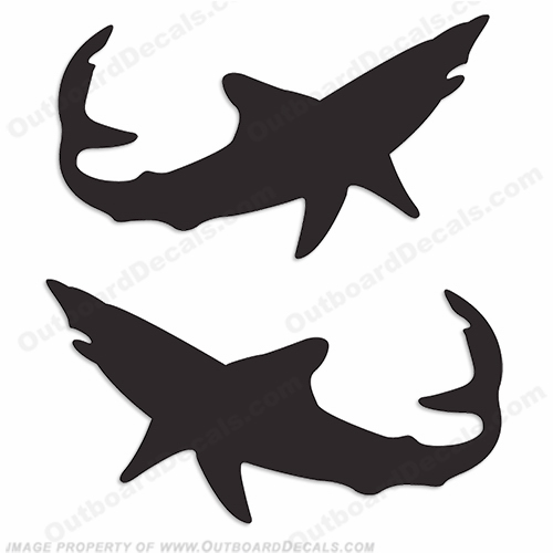 Mako Shark Logo Decals (Set of 2) - Any Color!