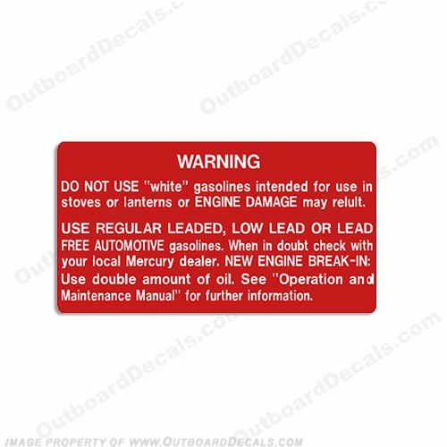 Mercury Warning Gas Tank Decal
