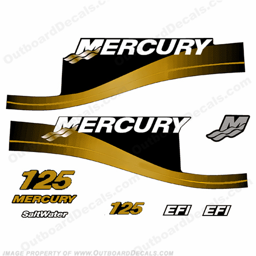 Mercury Custom 125hp EFI Saltwater Series Decals - Gold