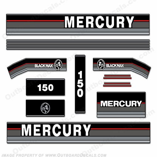 Mercury 1990 150hp outboard engine decals for Custom outboard motor decals