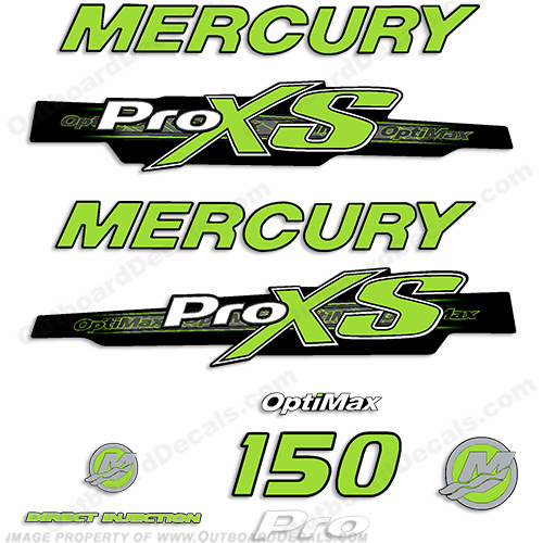 "2013 Mercury 150hp ""ProXS"" Decal Kit - Lime Green"