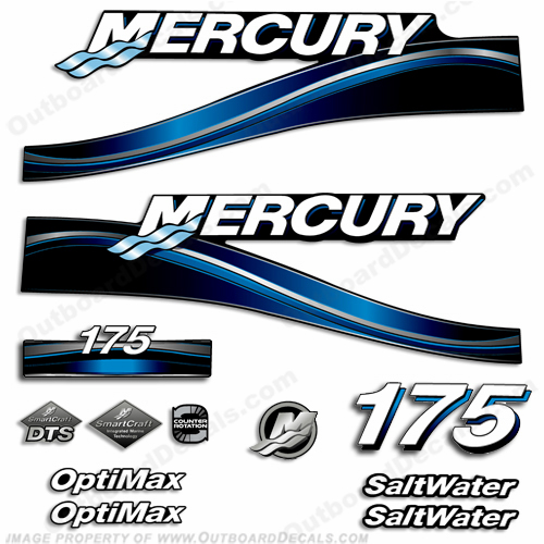 "Mercury 175hp ""Optimax"" Saltwater Decals (Blue) - 2005"