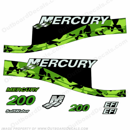 Custom Mercury 200hp Camouflage Series Decals - Green
