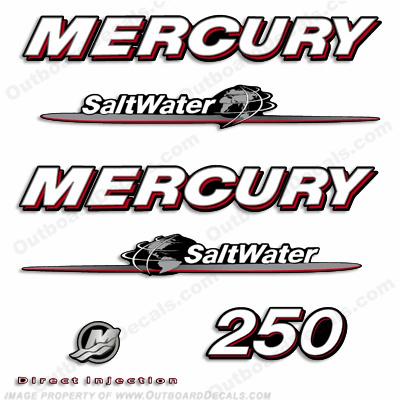 Mercury 250hp saltwater decals 07 39 08 39 for Custom outboard motor decals