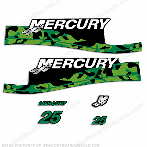 Custom Mercury 25hp Camouflage Series Decals - Green