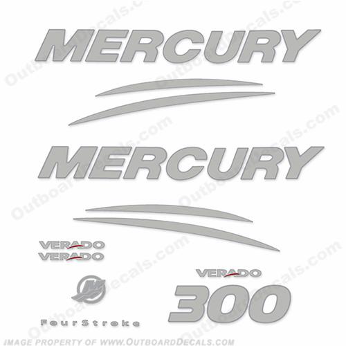 Mercury verado 300hp decal kit chrome silver