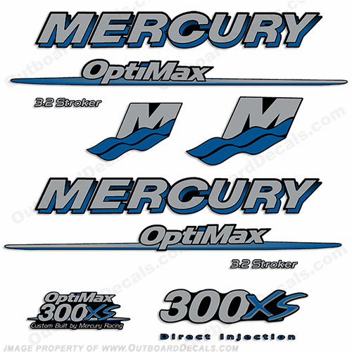 Custom Mercury 300XS Optimax 3.2 Stroker Decals - Blue/Silver
