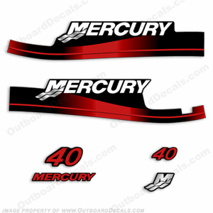 Mercury 40HP 2-Stroke Decal Kit w/Oil Window Cutout