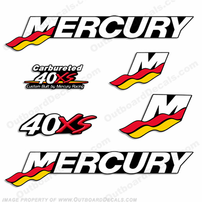 Mercury Custom 40hp Racing 40xs Decals - Style 2