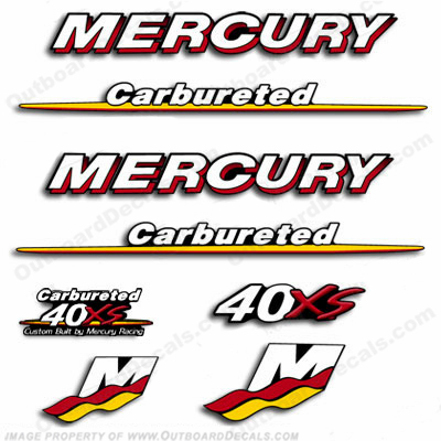Mercury Custom 40hp Racing 40xs Decals - Style 1