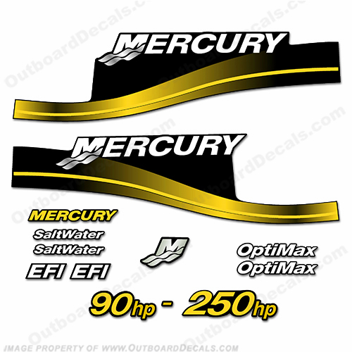 Mercury 90hp 250hp decals custom color yellow for Custom outboard motor decals