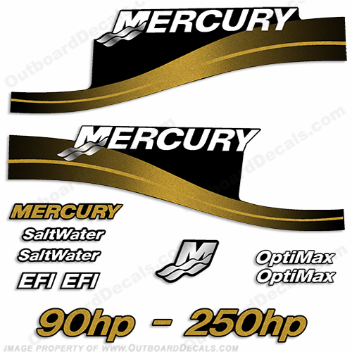 Mercury 90hp 250hp decals custom color gold for Custom outboard motor decals