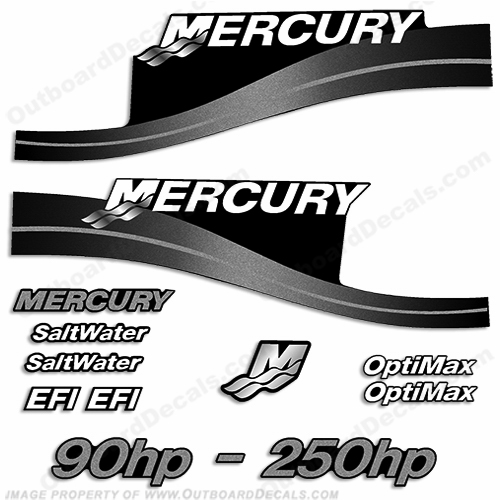 Mercury 90hp 250hp decals custom color silver for Custom outboard motor decals
