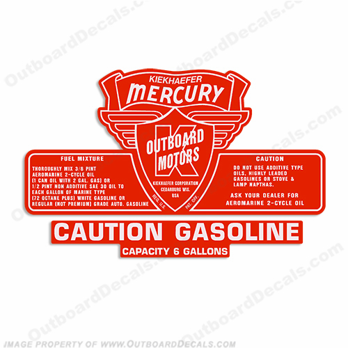 Mercury 1953-1956 6 Gallon Gas Tank Decal