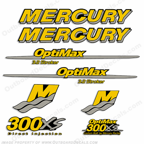 Custom Mercury 300XS Optimax 3.2 Stroker Decals - Yellow/Silver