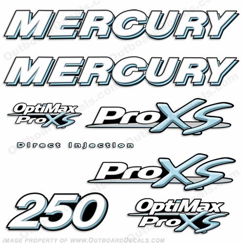 Mercury 250hp proxs decal kit powder blue
