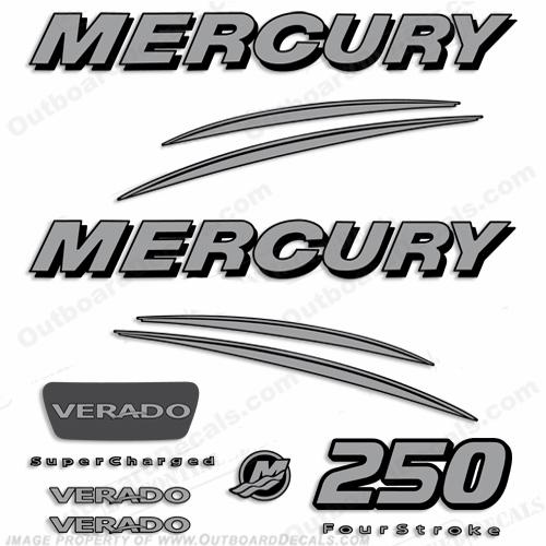Mercury verado 250hp decal kit silver for Custom outboard motor decals