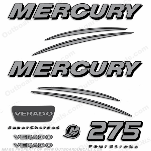 Mercury 275hp Verado Decals - Silver