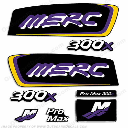 Mercury 300X Pro Max Decal Kit - Yellow/Purple