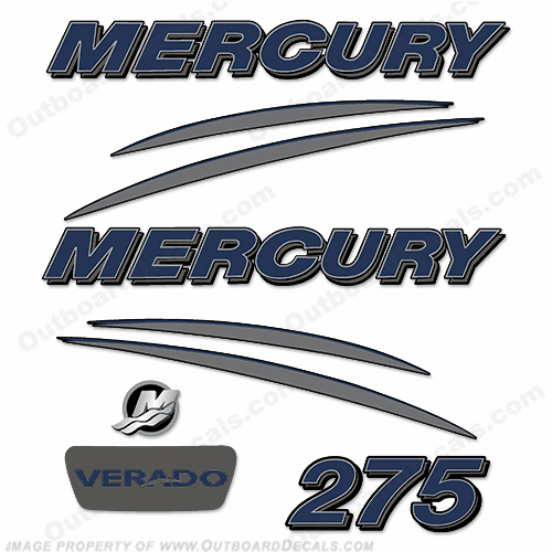 Mercury verado 275hp decal kit navy charcoal for Custom outboard motor decals