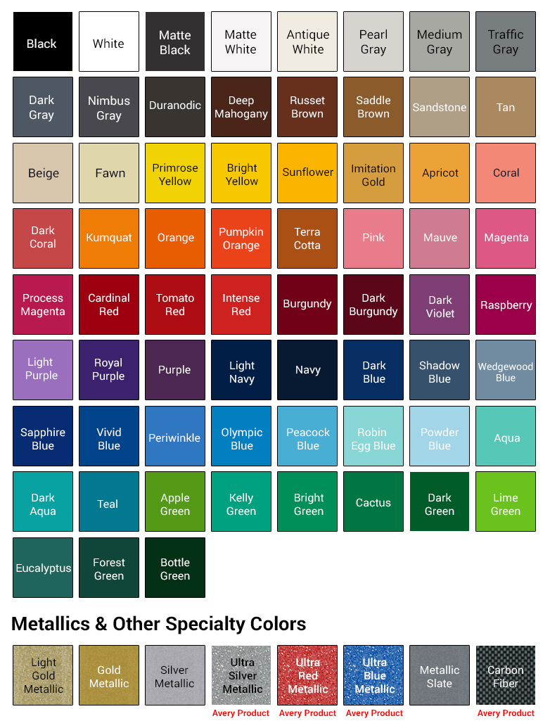 OutboardDecals.com | Color Chart