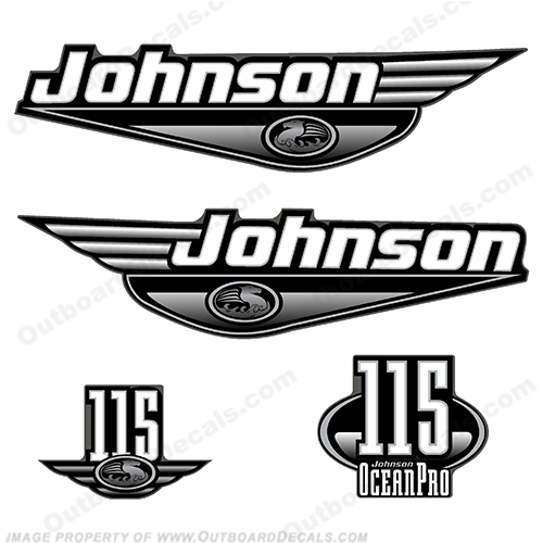 Johnson 115 Ocean Pro Decal Set - Black