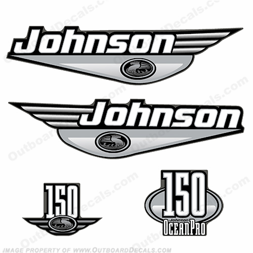Johnson 150 Ocean Pro Decal Set - Silver