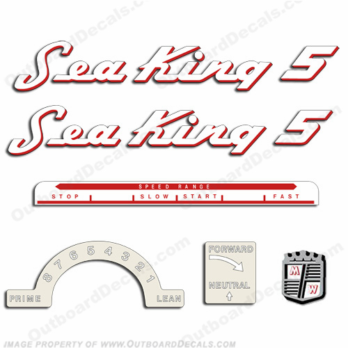 Sea King by Chrysler 1953-1955 5HP Decal Kit - Red Outline